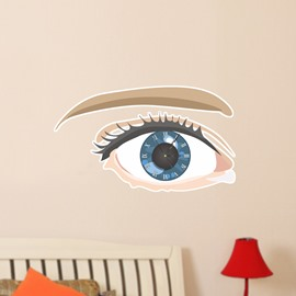 Eye Shaped 3D Decoration Art Wall Clock with Removable Sticker