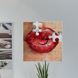 Red Lip and Camera Design 3D Creative Decoration Wall Clock
