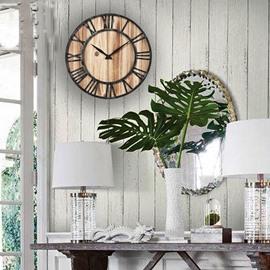 Wooden Iron Clock Home Decor European Vintage Wall Clock