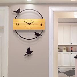 Mute Bird Clock Pendulum Creative Iron and Wood Wall clocks