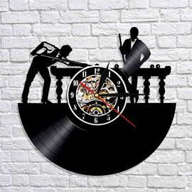 Billiards Creative Separates Wall Clocks 12inch with Night Light Silent Movement Accurate Travel Time Clock