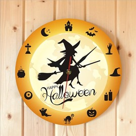 Halloween Horror Witch Silent Wall Clock Wall Hanging Home Living Room Bedroom Acrylic Decorative Clock