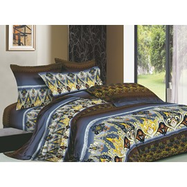 Colorful Pattern 4 Piece Cotton Bedding Sets with Active Printing