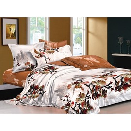 Chinese Ink and Wash Printed Brown 4-Piece Cotton Bedding Sets