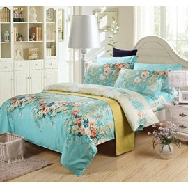 Colorful Blooming Flowers Retro Style Blue 4-Piece Bedding Sets/Duvet Cover