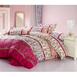 Floral and Swirls Pattern Ethnic Style Cotton 4-Piece Bedding Sets/Duvet Cover