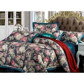 Secret Garden Total Flowers Print 4-Piece Duvet Cover Sets