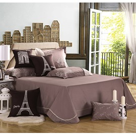 High Quality Print Gray Eiffel Tower 4 Piece Bedding Sets