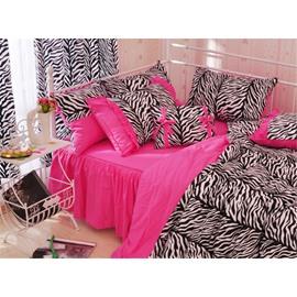 Zebra Stripe Pattern Cotton Full Size 4-Piece Pink Duvet Covers/Bedding Sets
