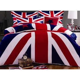 Cozy Fashion Flag Pattern 4-Piece Cotton Duvet Cover Sets