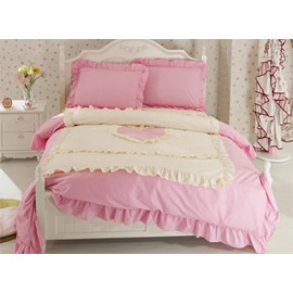 Heart Shape Cotton 4-Piece Pink Duvet Covers/Bedding Sets