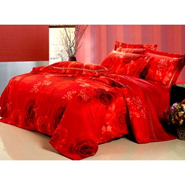 Luxury Red Rose Print 4-Piece Flannel Duvet Cover Sets