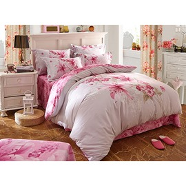 Excellent Pink Lily Flower Print 4-Piece Cotton Duvet Cover Sets