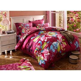 Fancy Oil Painting Flower Print 4-Piece Cotton Duvet Cover Sets
