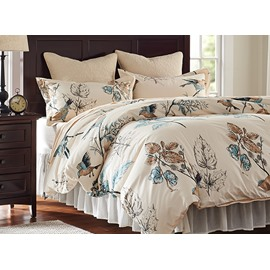 Rural Flower and Birds Print 4-Piece Cotton Duvet Covet Sets