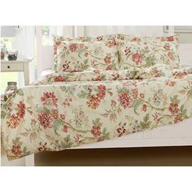 Luxuriant Wild Flower Print 4-Piece Natural Cotton Duvet Cover Sets