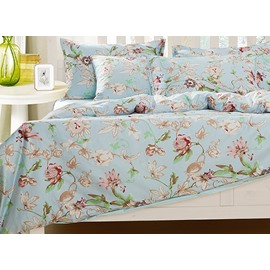 Alluring Beautiful Floral Pattern 4-Piece Natural Cotton Duvet Cover Sets