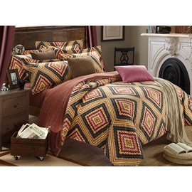 Vintage Tribal Pattern 4-Piece Carla Velvet Duvet Cover Sets