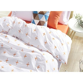 Modern Cross Pattern 4-Piece 100 Cotton Duvet Cover Sets