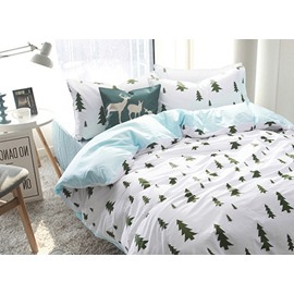 Minimalist Fir Pattern 4-Piece 100% Cotton Duvet Cover Sets