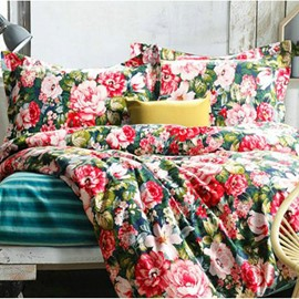 Secret Garden Beautiful Flowers Print 4-Piece Duvet Cover Sets