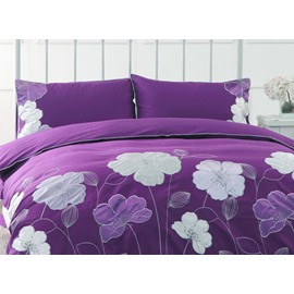Purple Flower Embroidery 4-Piece Cotton Duvet Cover Sets