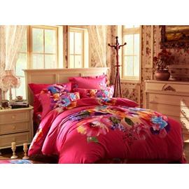 Amazing Red Flower Pattern 4-Piece Cotton Duvet Cover Sets
