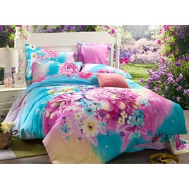 Colorful Fairy Land Print 4-Piece Cotton Duvet Cover Sets