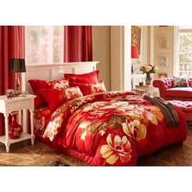 Luxurious Flower Print 4-Piece Cotton Duvet Cover Sets