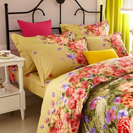 Blooming Flower Print 4-Piece Cotton Bedding Sets/Duvet Cover