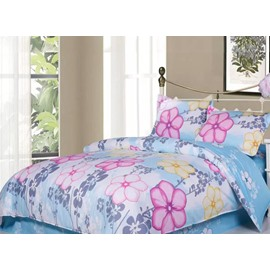 Pink Flower 4-Piece Cotton Duvet Cover Sets