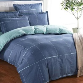 Comfortable Checkered Pattern 4-Piece Cotton Duvet Cover Sets