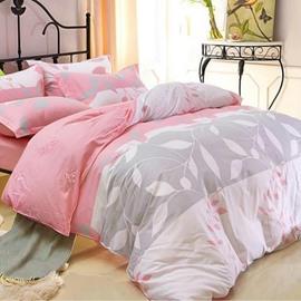 Elegant White Leaves Print 4-Piece Cotton Duvet Cover Sets