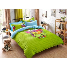Square Blocking Print 4-Piece Duvet Cover Sets