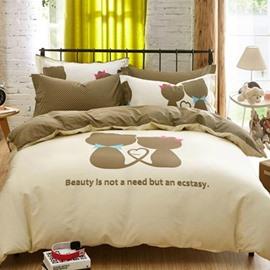 Lovers' world Print 4-Piece Cotton Duvet Cover Sets