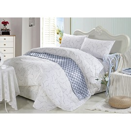 Noble Concise Style 4-Piece White Cotton Bedding Sets/Duvet Cover