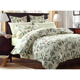 Graceful Fresh Vine Flower Print 4-Piece Cotton Bedding Sets/Duvet Cover