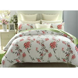 European Pastoral Style Birds Red Flower 4-Piece Cotton Duvet Cover Sets