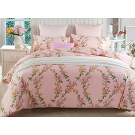 Romantic Graceful Vine Print Pink Cotton 4-Piece Duvet Cover Sets
