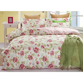 Fresh Floral Calystegia Hederacea Print Cotton 4-Piece Bedding Sets/Duvet Cover