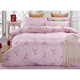 Romantic Pink Rose 100% Cotton 4-Piece Duvet Cover Sets