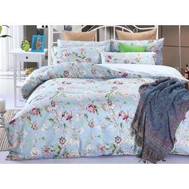 Top Grade Fresh Pastoral Floral Branch 100% Cotton 4-Piece Duvet Cover Sets