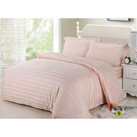 Romantic Pink Ribbon Cotton 4-Piece Duvet Cover Sets