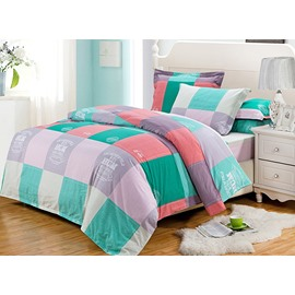 Scottish Plaid Style Cotton 4-Piece Duvet Cover Sets