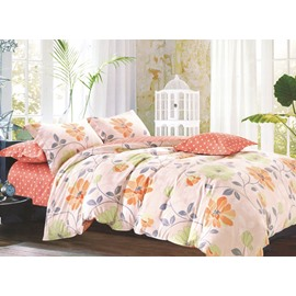 Fresh Flower Leaves Print Cotton 4-Piece Duvet Cover Sets