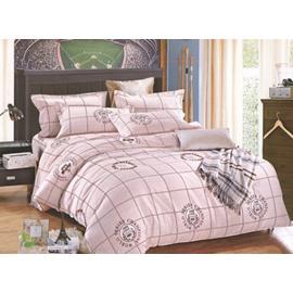 Simple Plaid Style 4-Piece Cotton Duvet Cover Sets