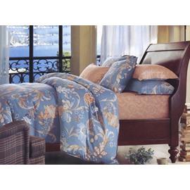 European Style Noble Flower Print 4-Piece Cotton Duvet Cover Sets