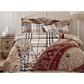 European Style Plaid Jacquard 4-Piece Duvet Cover Sets