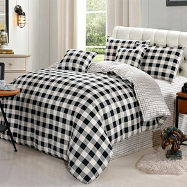 Black and White Plaid Print Cotton 4-Piece Bedding Sets