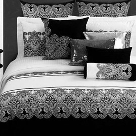 Black White Classical Jacquard Design Cotton 4-Piece Bedding Sets/Duvet Cover